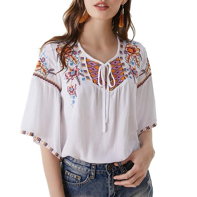 Amazon.com: AK Blusas de túnica de algodón con bordado ...