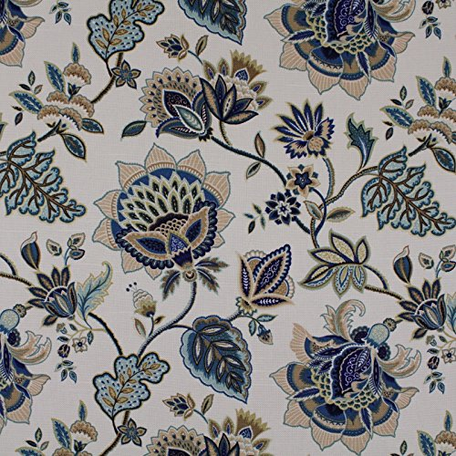 Mystic Blue Blue Brown Gray Neutral Floral Print Upholstery Fabric by the yard ()