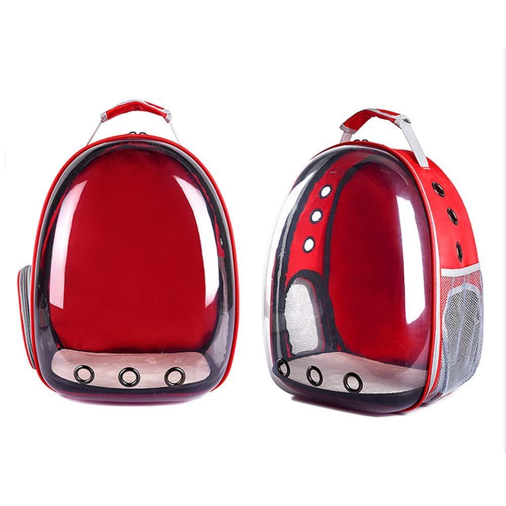 Travel Car Car Car Pet Capsula spaziale completamente trasparente Cat Pack, Pet Dog Backpack Zaino portatile, Big Space traspirante Quattro stagioni disponibili Borsa per animali domestici ( colore   rosso ) ff513b