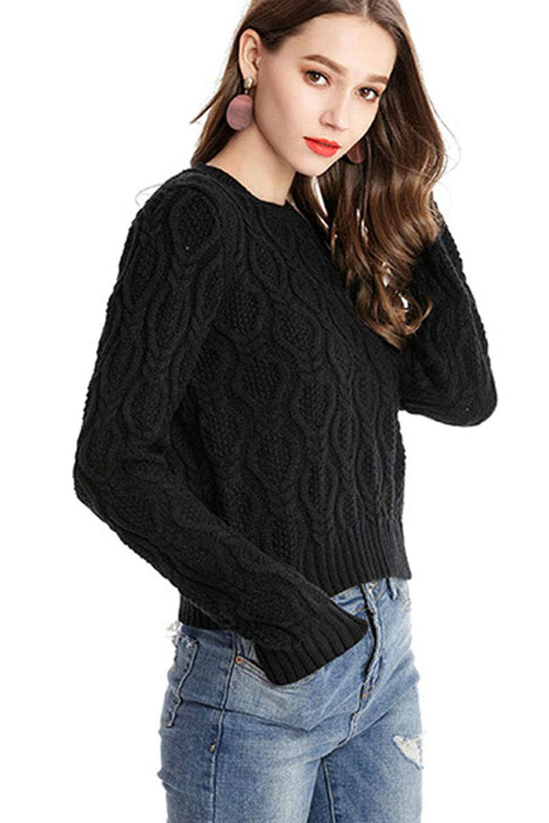 Womens Cropped Crewneck Textured Petite Long Sleeve Solid Slim Fit Cosy Sweater Tops Black XL