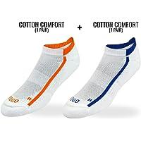 TEGO Unisex Cotton, PA and EA Drill Intensive Training Socks (White Navy Orange, Large) - 2 Pairs