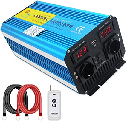 Cantonape Inversor de Corriente Onda Sinusoidal Pura 3000W/6000W Convertidor 12V a 220V 230V con Control Remoto Salidas de AC Dobles & Pantalla 2 LED para el Uso en el hogar del Carro de RV