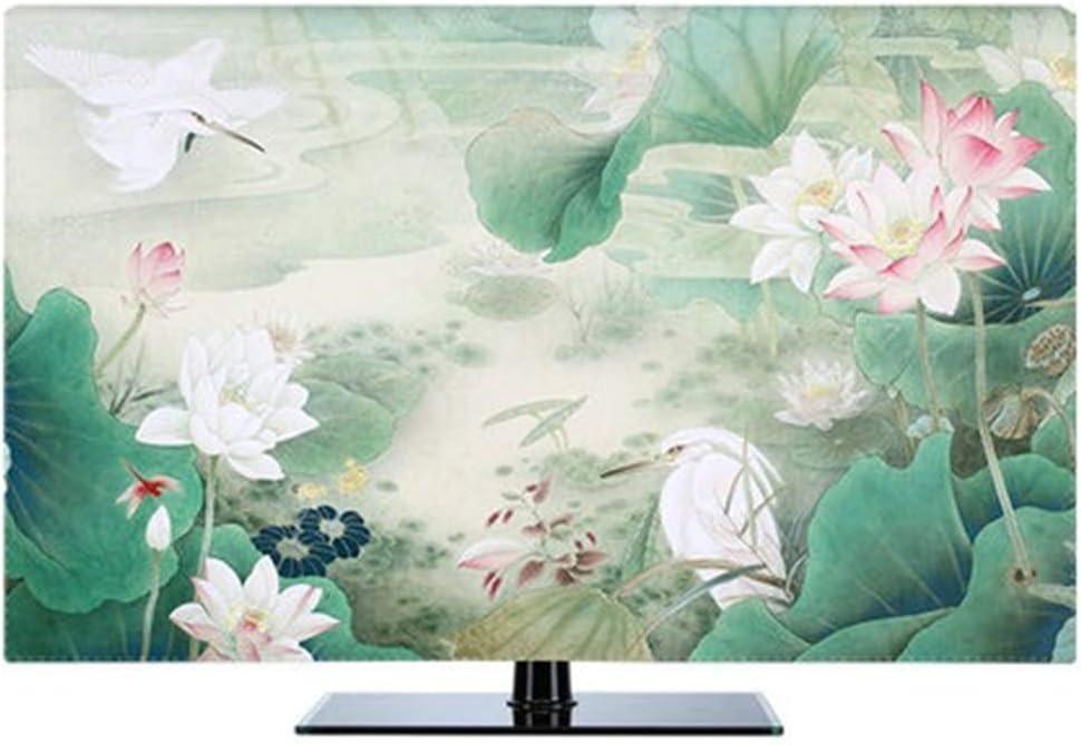 LJXX TV Cubierta 19 pulgadas-80 Pulgadas Pantalla LCD TV Pc Cubierta Decorativa Cubierta Cortina Pintura Lily Flower Track Impermeable 58