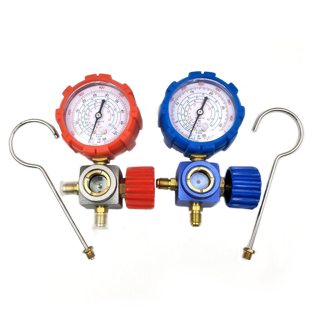 Nikauto R134 R410a R22 R404a Manifold Gauge High Low Pressure Gauge Without Hose (red and Blue)