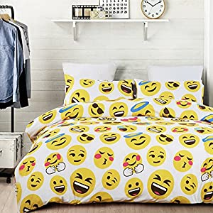 Vaulia Lightweight Microfiber Duvet Cover Sets, Lovely Emoji Pattern Design, Queen Size