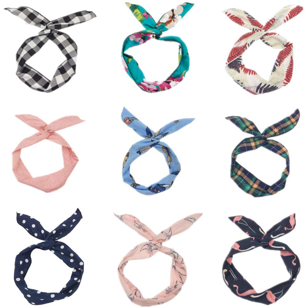 9 Pack Women's Headbands Headwraps Hair Bands Bows Iron Wire Girl Rabbit Ears Hair Accessories (Fashion Style) by Turkoni