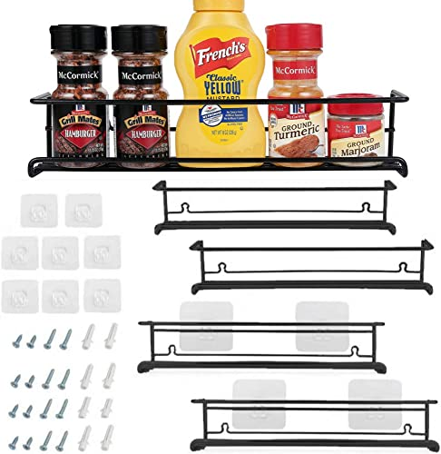 Spice Rack Organizer for Cabinet, Door Mount, or Wall Mounted – Set of 4 Black Hanging Shelf for Spice Jars – Storage in Cupboard, Kitchen or Pantry – Display bottles on shelves, in cabinets