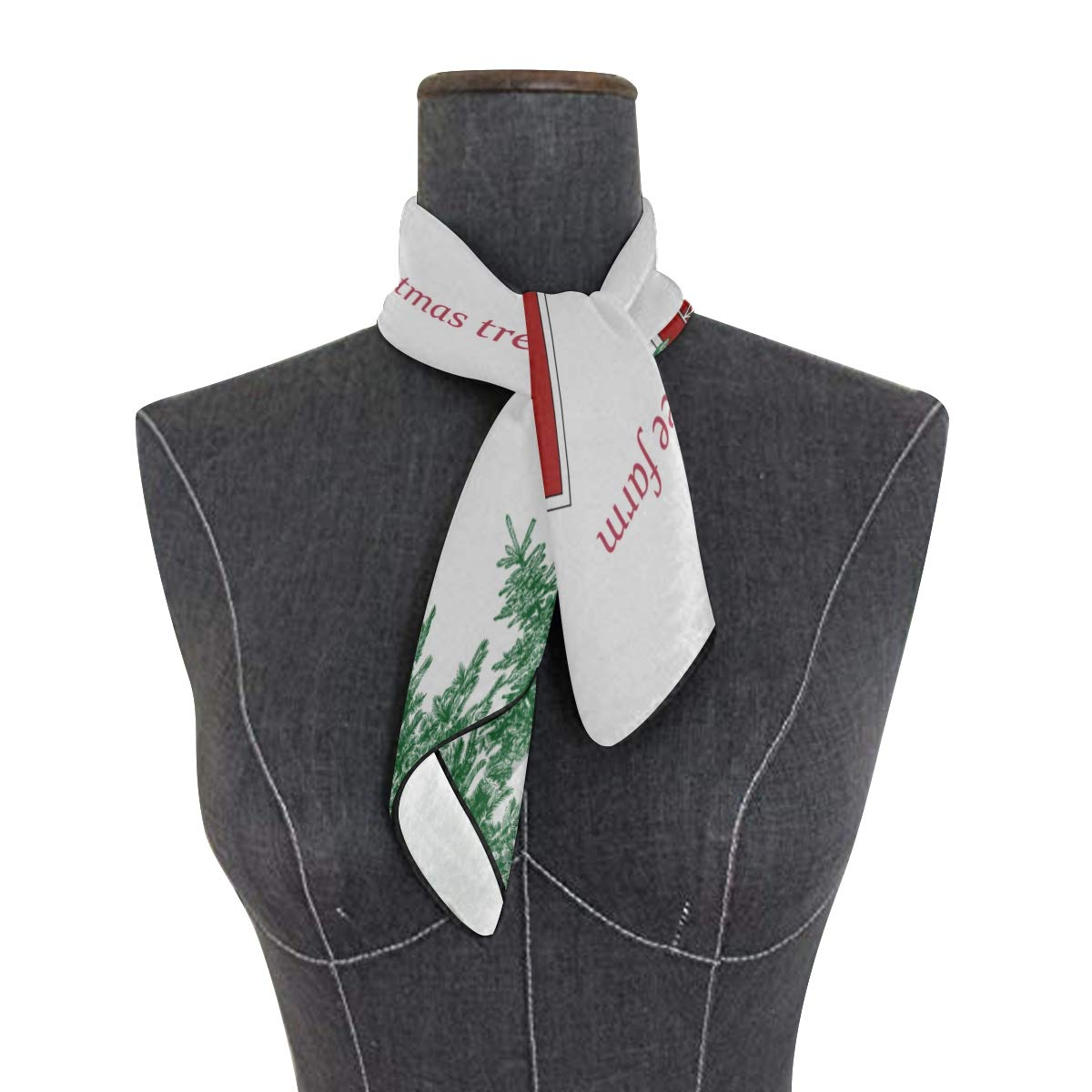 Soft Polyester Silk Hair Accessories Scarf Fashion Print Beautiful Christmas Tree Farm Square Scarf Wrap Scarf Women Square Face Scarf Multiple Ways Of Wearing Daily Decor