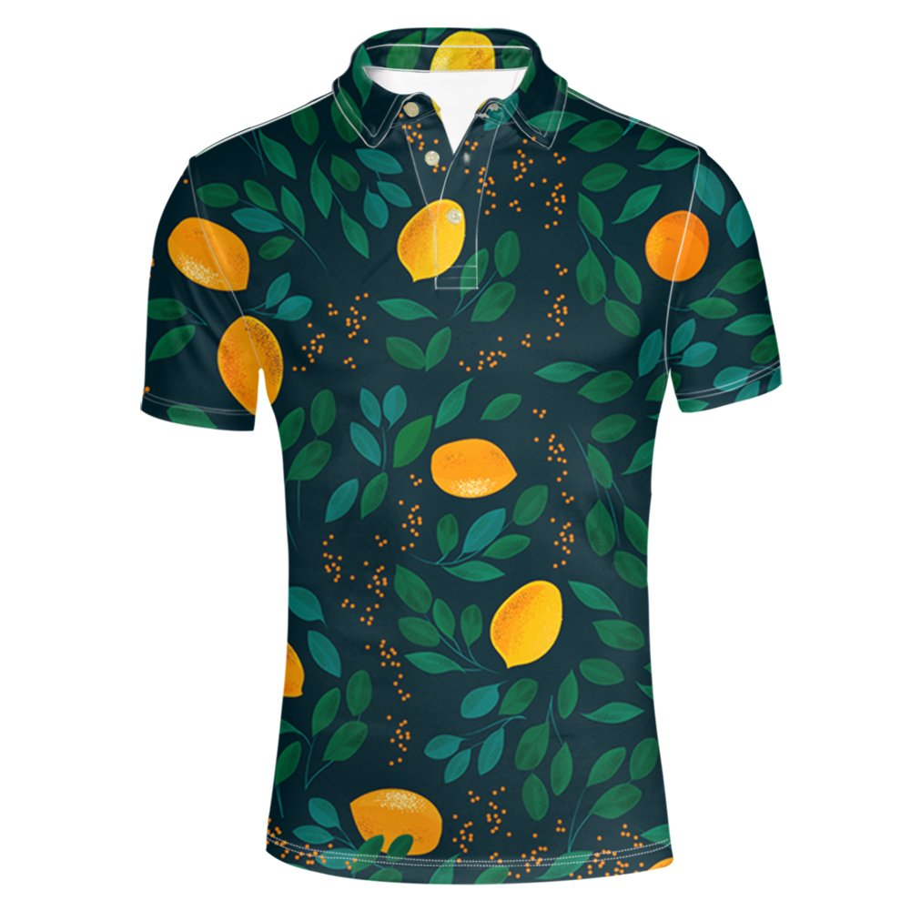 HUGS IDEA Men's Classic Polos Shirts Summer Short Sleeve Tropical Sleeves Fashion T-Shirt Tee