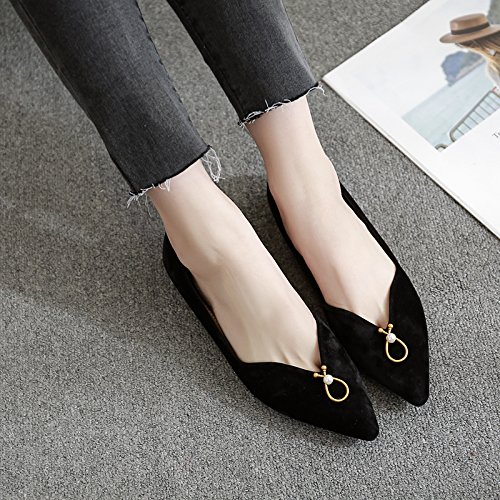Satén Zapatos Femeninos de Zapatos Negro Punta con Zapatos Mujer Solo Plana Qiqi de versátil luz con Xue Baja Planos de y OpU5Pq