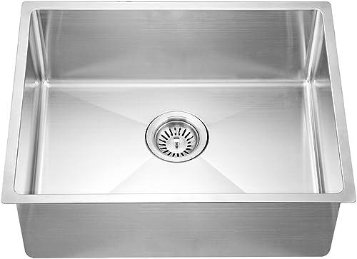 Dawn SRU201609 Undermount Small Corner Radius Single Bowl Sink, Polished Satin