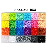 Fuse Beads Kit,ITOY&IGAME Fuse Beads 0.1in 24 Colors 12000pcs Fuse Beads Multi-Color Fun Fusion Beads Children DIY Craft Toys with 5 Ironing Paper,2 Tweezers and Template