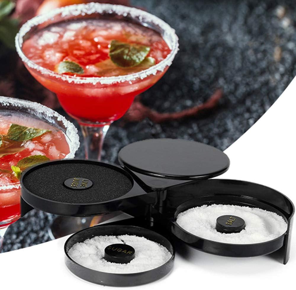| Suwimut 2 Pack 3 Tier Bar Glass Rimmer for Margarita and Cocktail, Bartender Tool, Black: Rimming Salts & Sugars