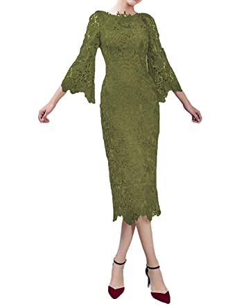 204ed06ef5d299 LMBRIDAL Women's Lace Mother of The Bride Dress with Sleeves Tea Length  Army Green 2