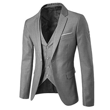 Amazon.com: 2018!!😊Men Boys Slim Blazer Business Wedding Party Jacket Vest Pants (3XL, Gray): Electronics