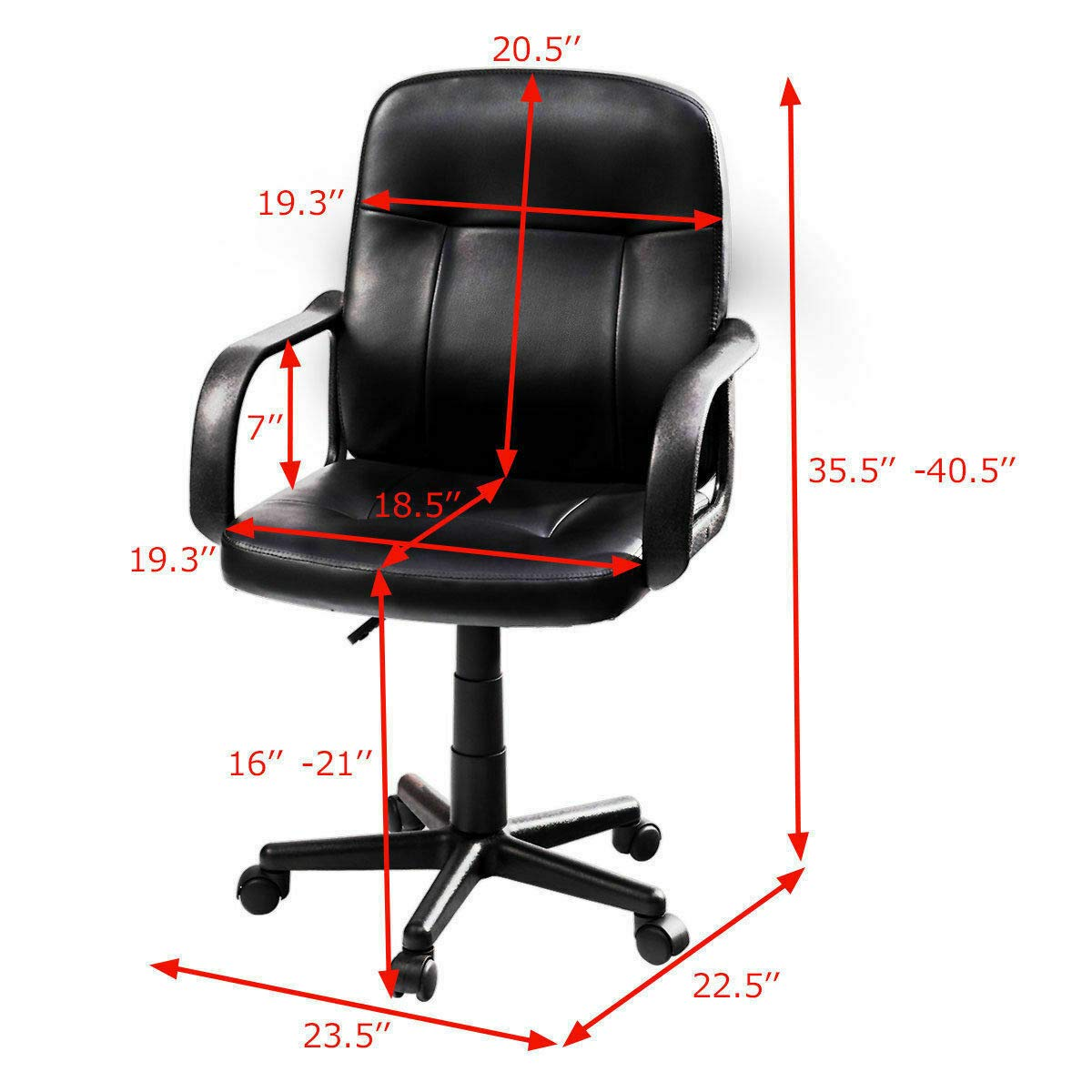 Seleq Compact Black PU Leather Desk Chair for Home Office by Seleq (Image #2)