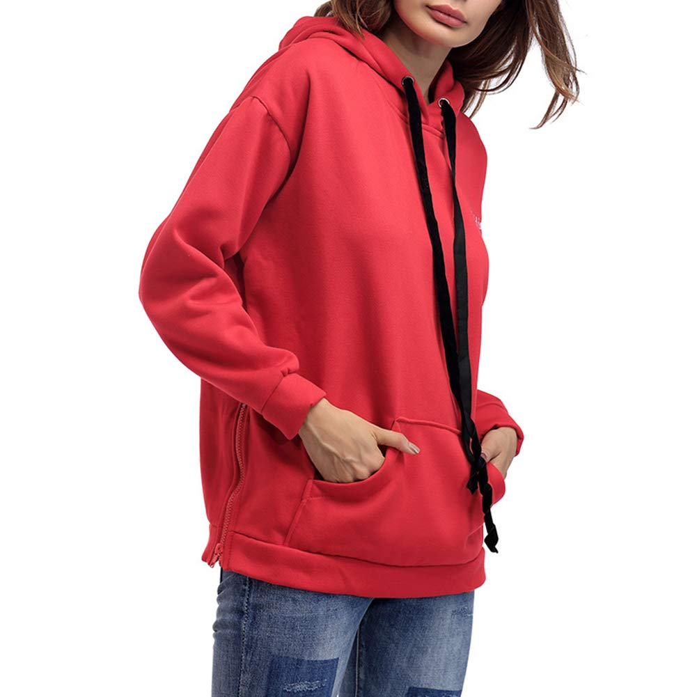 Michelle/&A Womens Single Color Hoodies Fashion Sweatshirt Girls Blouse Tops with Hooded