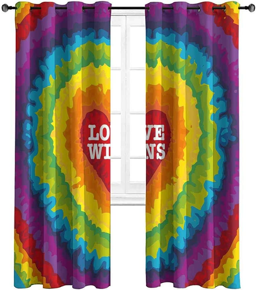 Opehodecor Pride Decorations Custom Drapery Love Valentines Celebration with Tie Dye Rainbow Colors Happiness Vintage Window Treatment Curtains for Guestroom 55 x 40 inch