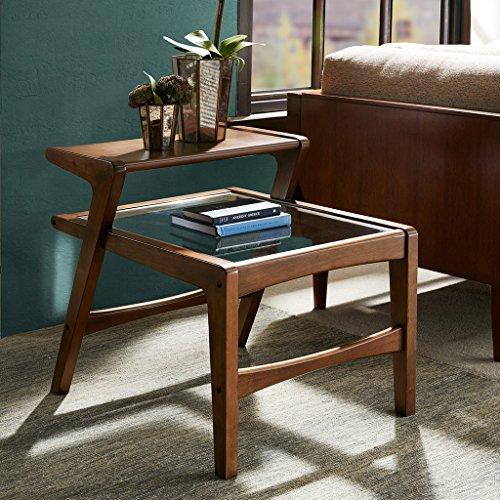 Side Table with Glass Pecan/See below - Pecan Living Room Set