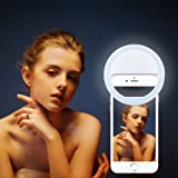 New Selfie Ring Light,Joseche Ring Light for Camera [Rechargable Battery][No Battery required] Portable Selfie LED Camera Light for iPhone iPad Sumsung Galaxy Photography and More Smart Phones(White)