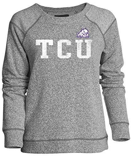 Frog Terry (NCAA Tcu Horned Frogs Moonlight Women's Reversed Sleeve Crew, Pepper/Charcoal, X-Large)