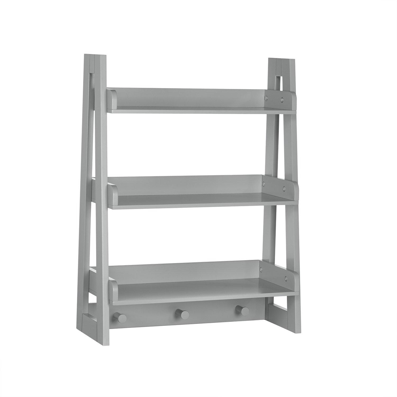 RiverRidge Wall Shelf with Hooks for Kids, Gray