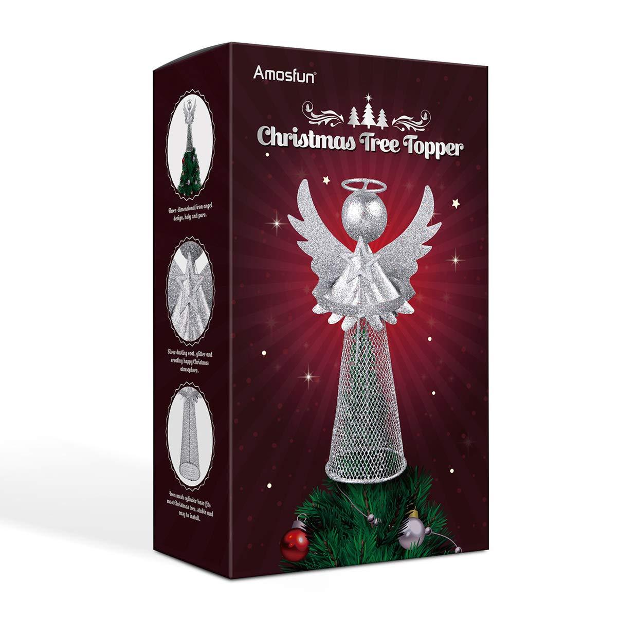 Color Plateado Decoraci/ón para /árbol de Navidad dise/ño de /ángel de Navidad Amosfun