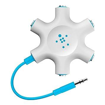Belkin RockStar 5 Jack Multi Headphone Audio Splitter  Blue   F8Z274btBLU  Adapters