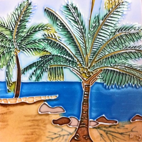Continental Art Center BD-0613 8 by 8-Inch Tropical Palms Ceramic Art Tile