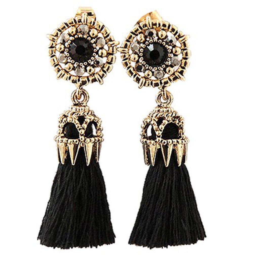 Yamalans Women's Tassel Dangle Earring Vintage Rhinestone Tassel Long Dangle Earrings (Black)