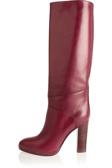 cbb921bc2be476 Juoar Damen Übergröße Knie Stiefel Blockabsatz High Heels Stiefeletten Nach  dem Reißverschluss Schuhe Glatteleder Rot EU