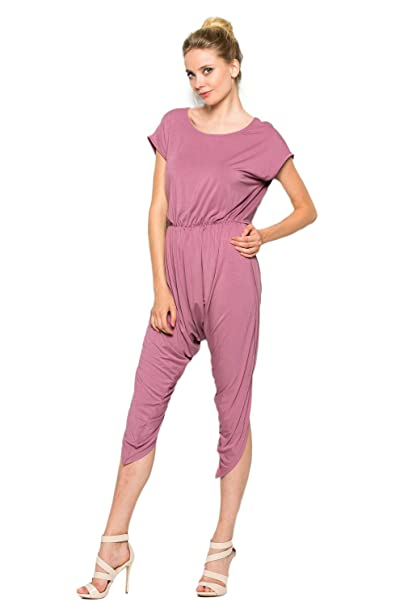 20855f98f00 Amazon.com  Annabelle Women s Short Sleeves Comfy Harem Jumpsuit Capri Red  Brown Medium J8001  Clothing