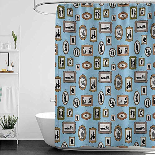 home1love Fabric Shower Curtain,Vintage Pictures Different People Black Silhouettes in Antique Frames Hanging on The Wall,Fashionable Pattern,W72x84L,Multicolor