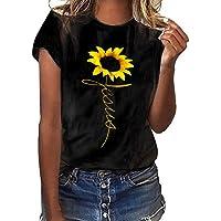 ZQISHMAO Women Summer T-Shirts, Sunflower Printed Short Sleeve O Neck Loose Tees Casual Tops Shirt Blouse