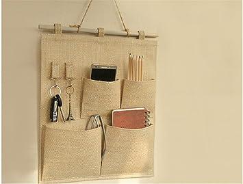 MyTop bolsillos calcetines sujetador ropa interior de almacenamiento organizador para carrito, pared tela de la puerta para colgar bolsa de almacenamiento ...