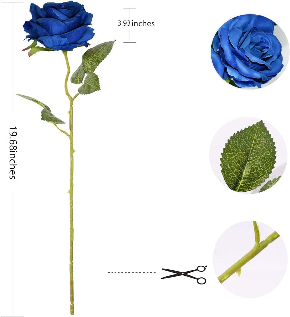 Decpro 12 Piezas de Rosas Artificiales arreglos Florales Flor de Seda de un Solo Tallo Largo de 19.7 para Ramos de Novia centros de Mesa Azul decoraci/ón de Hotel de Oficina
