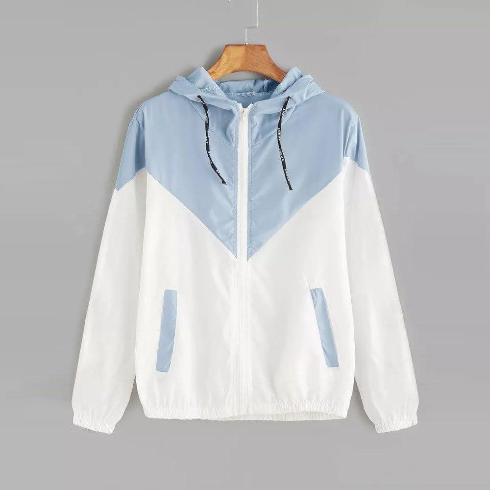 NREALY Jacket Womens Long Sleeve Patchwork Thin Skinsuits Hooded Zipper Pockets Sport Coat