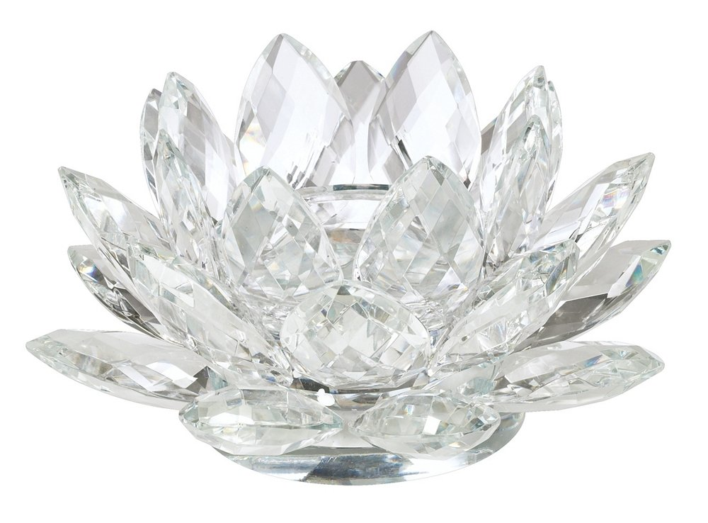 Crystal lotus candle holder clear amazon kitchen home mightylinksfo