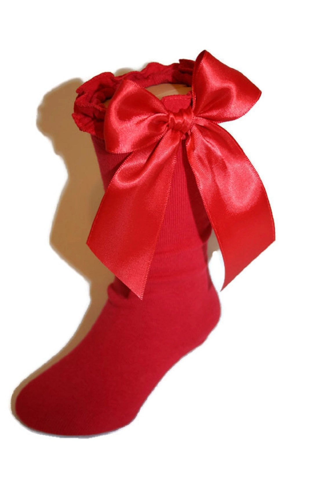 Girls Knee High Socks Knit Ruffle Large Satin Bows assorted Colors (8-9.5 Girls, Red)
