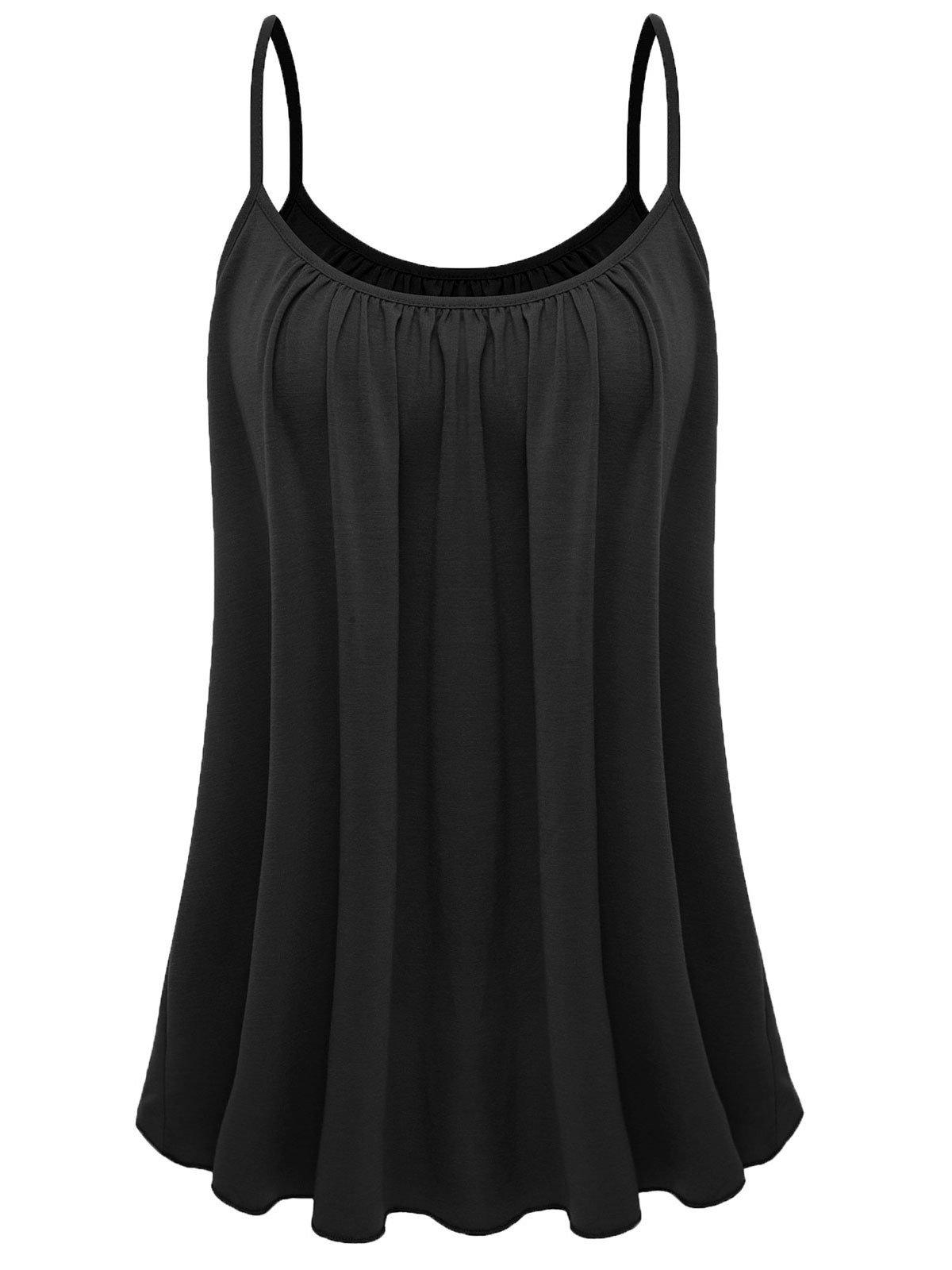 7th Element Womens Plus Size Cami Basic Camisole Tank Top (Black,2XL)