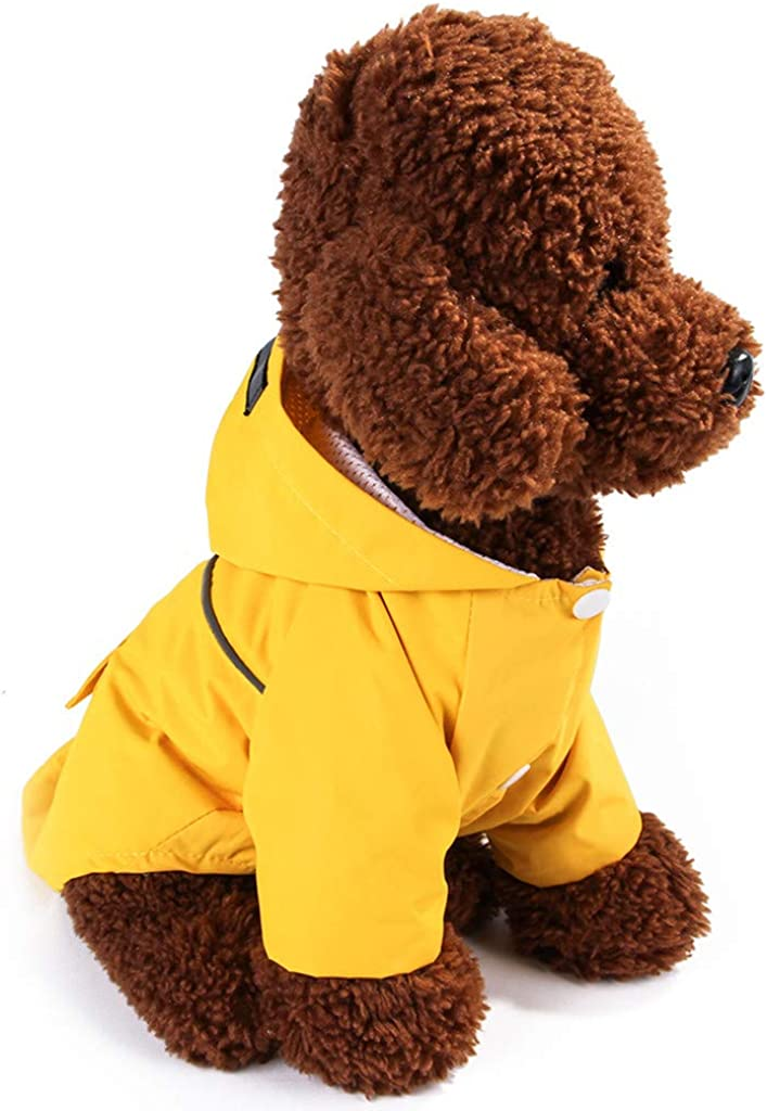 Fitfulvan Pets Clothes Dog Raincoat Waterproof Cloak All-Inclusive Pet Hooded Raincoat Outwear Apparel