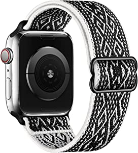 SIRUIBO Stretchy Nylon Solo Loop Bands Compatible with Apple Watch 42mm 44mm, Adjust Stretch Braided Sport Elastics Women Men Strap Compatible with iWatch Series 6/5/4/3/2/1 SE, Black White Rhombus