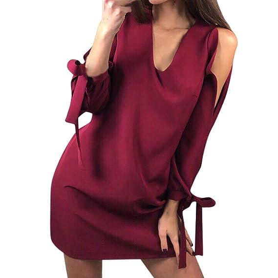 Vestido de Mujer Vendaje,Vestido Corto de Manga Larga con Cuello en V
