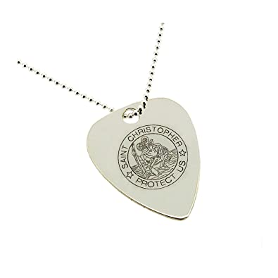 Solid 9ct white gold engraved st christopher guitar pick plectrum solid 9ct white gold engraved st christopher guitar pick plectrum pendant in gift box aloadofball Image collections