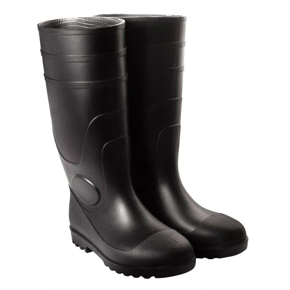 Bravepanda Adult Men's Antiskid Rubber Sole Waterproof Work Shoes Rain Boots, Black, 11