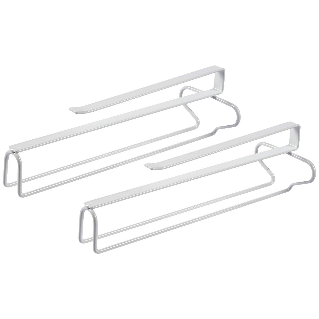 Glass Holder - 2-Pack Wine Glass Rack, Under-Cabinet Stemware Rack Organizer, Hanging Wine Glasses Storage, White Iron Wire, 12.1 x 4 x 3.1 Inches