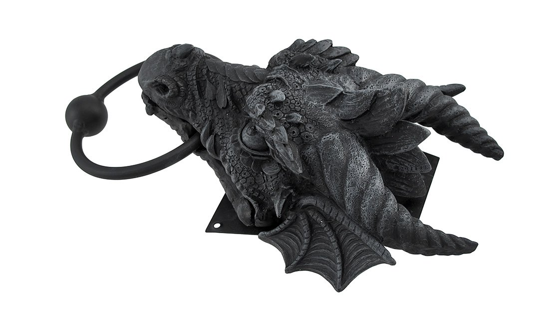 Gothic Dragon Door Knocker Cast Iron Finish