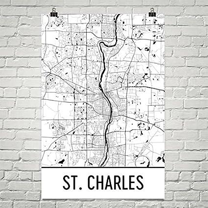Amazon Com St Charles Map St Charles Art St Charles Print St