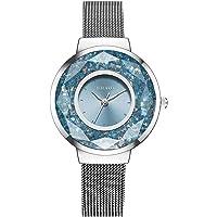 QIUUE Quartz Stainless Steel Inlay Diamond Casual Analog Women's Watch