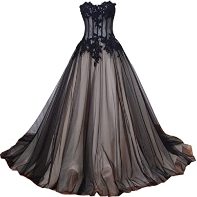Kivary Long Black And Champagne Lace Gothic Prom Wedding Dresses At Amazon Women S Clothing Store,Simple Dress For Wedding Ceremony
